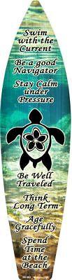 Sea Turtle Swim Metal Surfboard Sign 17