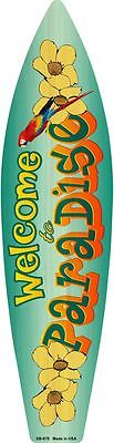Paradise Surf Sign - Welcome To Paradise Metal Novelty Surf Board Sign