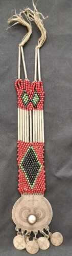 """Old """"SEKIL""""  MAPUCHE Culture WOMAN PECTORAL JEWEL with Shakira beads c1930"""