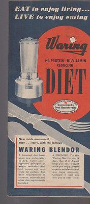 Waring Blender Diet Recipe Book 1953 Hi Protein Hi Vitamin