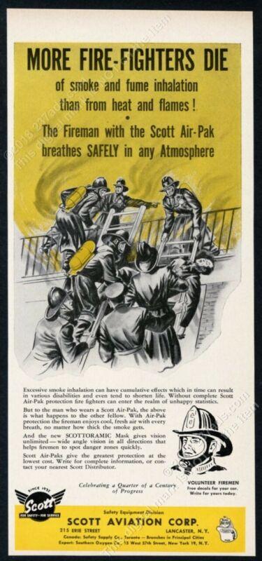 1957 Scott Air-Pak fireman breathing apparatus blaze art vintage trade print ad