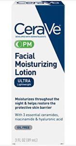 CeraVe Facial Moisturizing Lotion PM, Ultra Lightweight, 3 oz.