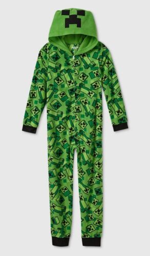 MINECRAFT Union Suit Pajamas Size LARGE Boys One Piece Creeper Costume 10-12 NEW