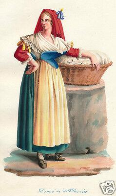 1840 Rome Lazio Italy Marino costume watercolor hand color engraving