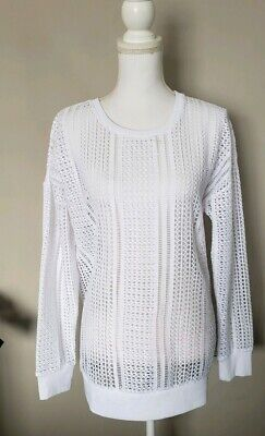 Fabletics Womens Sophie Tunic Top Power Lace Mesh Pullover White  size M