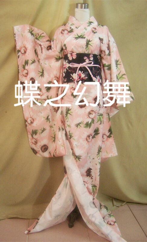 Japanese Kimono Furisode Pink Floral Long Traditional Cosplay Costumes
