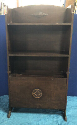 Art Deco bookcase magazine rack with folding out compartment