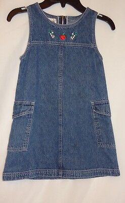 Denim Jean Blue Dress Size 6 L/6 Girl's Apple Flowers CC Bates Sleeveless