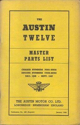 Austin Twelve 12 original Illustrated Master Parts List 1949 Pub No 428