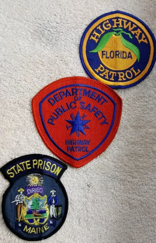 FL Highway Patrol, TX DPS State Trooper, Maine State Prison Embroidered Patches