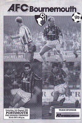AFC Bournemouth v Portsmouth Official Football Programme - 3rd August 1991