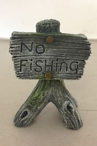 AQUARIUM FISH TANK ORNAMENT NO FISHING SIGN GREY 8CM HIGH