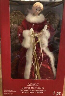 "Lighted Angel Tree Topper Light Up Red Gold NEW 12"" 10 Lights Decoration Christ ()"