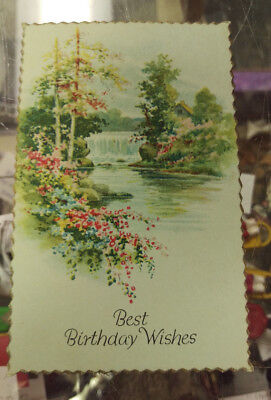 Vintage Birthday Card - Best Birthday Wishes with The Lamplighter Poem on