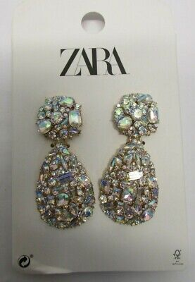 NEW Diamante Tear Drop Geometric Earrings ZARA Style
