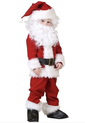 Holiday Time 7 Piece Santa Clause Suit New For Boys 6-8 Years Old Red and White - Boys Santa Suit