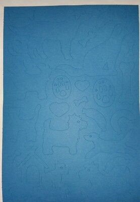 Stickerbogen Hunde Knochen  14,5x23cm Scrapbooking Aufkleber Tonpapier blau