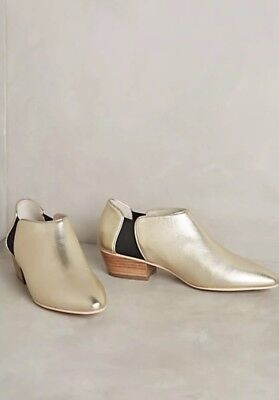 NEW Anthropologie Intentionally Blank City Metallic Gold Chelsea Boots Size 37