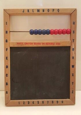 Vintage Toy Abacus Wood Tin Chalkboard White Board Alphabet Chalk Dry Erase