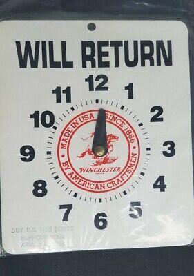 Vtg Winchester Will Return Sign With Us War Bonds Stamp On Bottom Front Clock