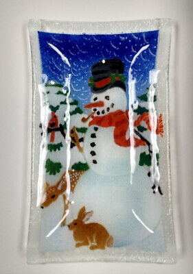 """2000 Vintage Signed PEGGY KARR Glass SNOWMAN 10"""" CHRISTMAS TRAY"""