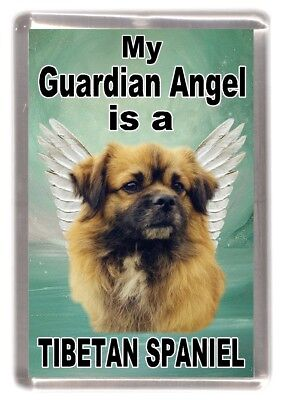 "Tibetan Spaniel Dog Fridge Magnet ""My Guardian Angel is a........."" by Starprint"