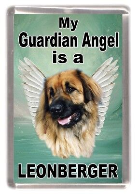 "Leonberger Dog Fridge Magnet ""My Guardian Angel is a Leonberger"" by Starprint"