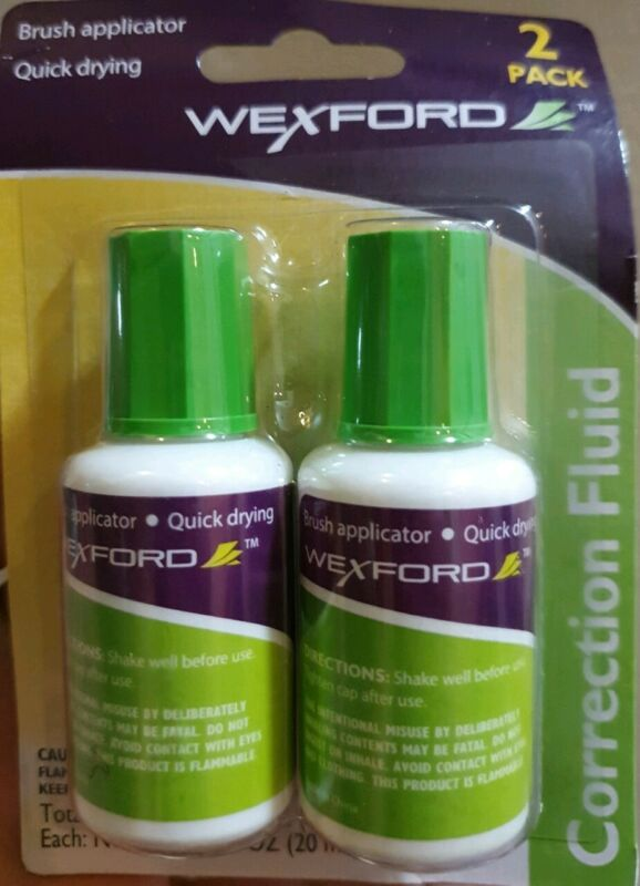 Wexford Correction Fluid Liquid Dries Quickly New Brush Applicator