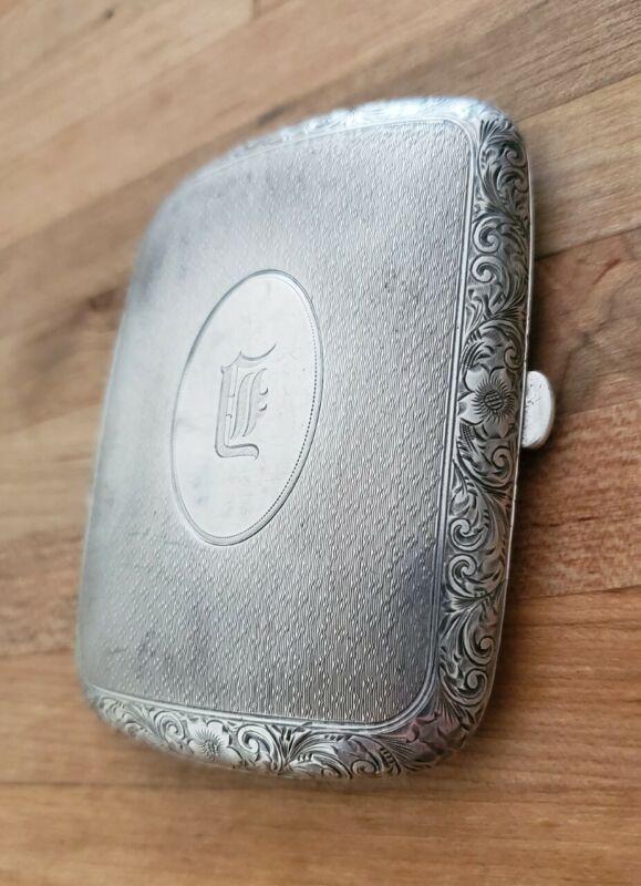 Antique Battin Sterling Silver Cigarette Case Card Box Monogram E