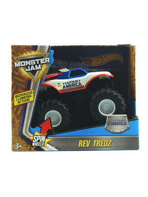 Hot Wheels Monster Jam Captain America Truck Rev Tredz 1/43 Scale Motorized New
