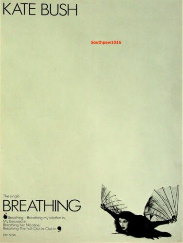 "1980  Kate Bush ""Breathing"" Song Release Music Industry Promo Ad Print"