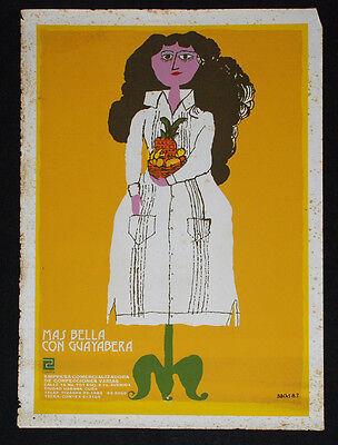 "1983 Original Cuban Movie Poster""Beauty in Guayabera""Cuba fashion model.Animated"