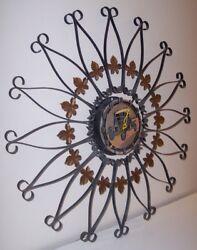 Vintage MidCentury Westclox Wall Clock, Metal Scroll with Maple Leaves & Old Car