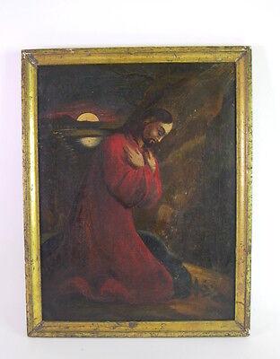 antikes volkstümliches Gemälde um 1800 - Jesus betend in der Nacht am Ölberg