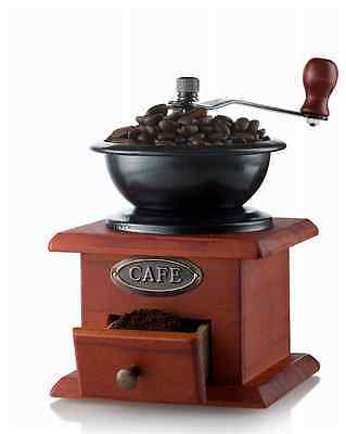 New Antique Coffee Grinder Mill Manual Artisanal Hand Crank Vintage Wood Drawer