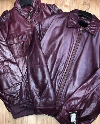 Giovanni Men's Leather Jacket Burgundy Two Different Styles and Many Sizes (Different Men's Styles)