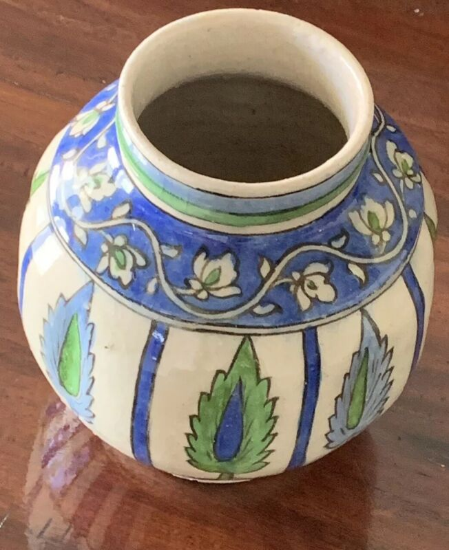 Very Early Antiquities Islamic Ceramic Pot Possibly Iznik - Blue And Green
