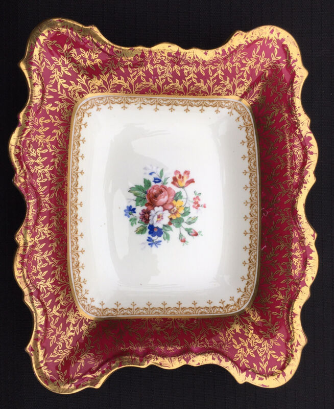 """Vtg. AYNSLEY Hand Painted Porcelain Tray Flowers /Gold Gilding  7"""" England As Is"""