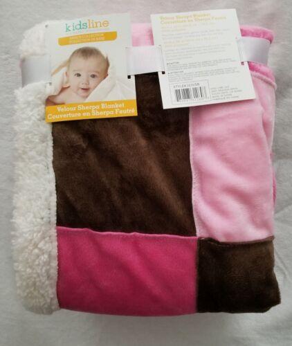 Kidsline Velour Sherpa Baby Blanket Pink & Brown Squares New