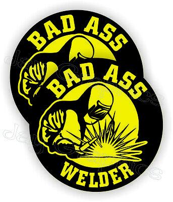 Bad Ass Welder Funny Hard Hat Stickers Welding Helmet Decals Mig Tig Weld -ylw