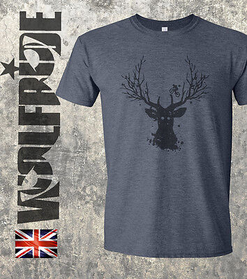 Mountain Short Sleeve Tee (Mountain bike tree stag print - DH, bike t-shirt, casual, tee - short sleeve)