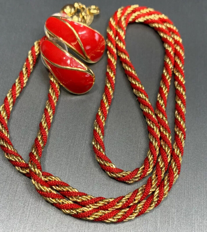 """Vintage Crown Trifari Gold 24"""" Wrapped Red Chain With Matching Pierced Earrings"""