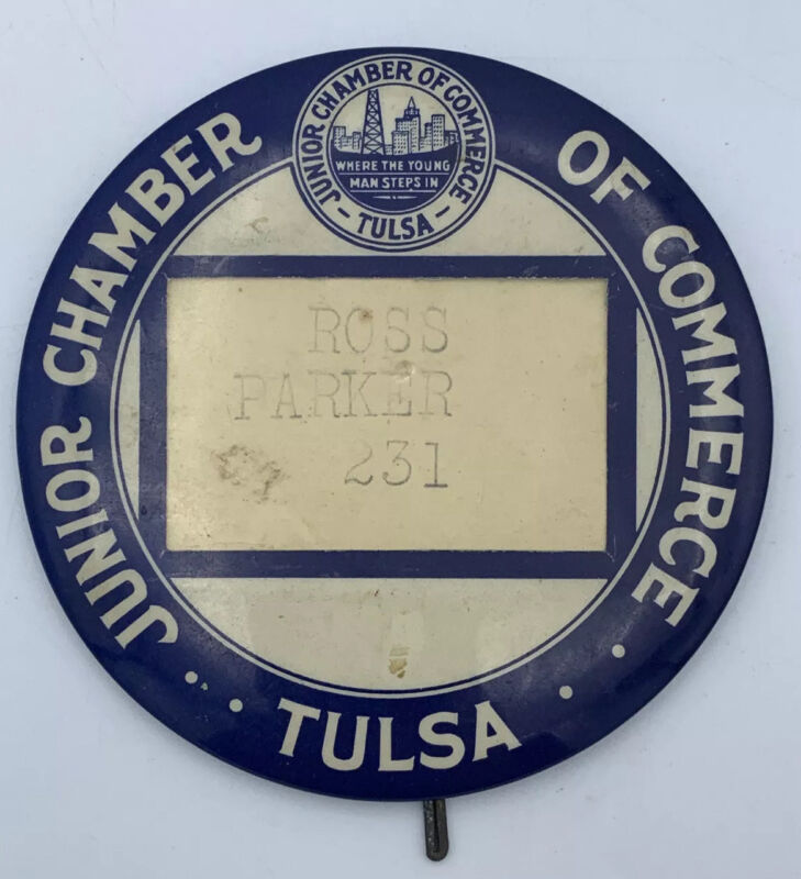 Vintage Junior Chamber Of Commerce Tulsa Large Pin / Name Tag Badge