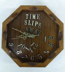 Vintage 1980's Wooden Funny Time Slips Away Messed Up Numbers Clock Handmade