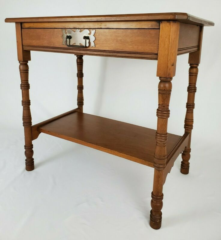 Antique C.H. Haberkorn Writing Desk With Drawer Cherry Wood Federal Early 1900