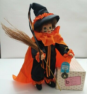 Brinn's October 1990 Calendar Clown witch with broom K-21 Rare Halloween Decor