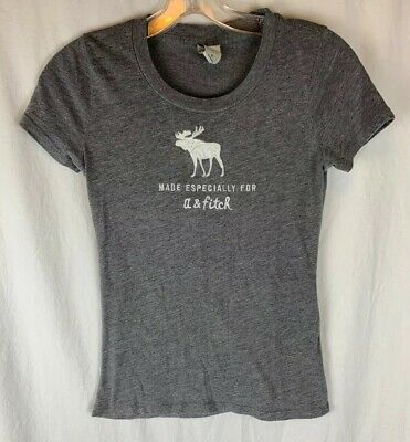 Abercrombie Kids Short Sleeve Gray Moose Applique T Shirt XL X-Large 14 16