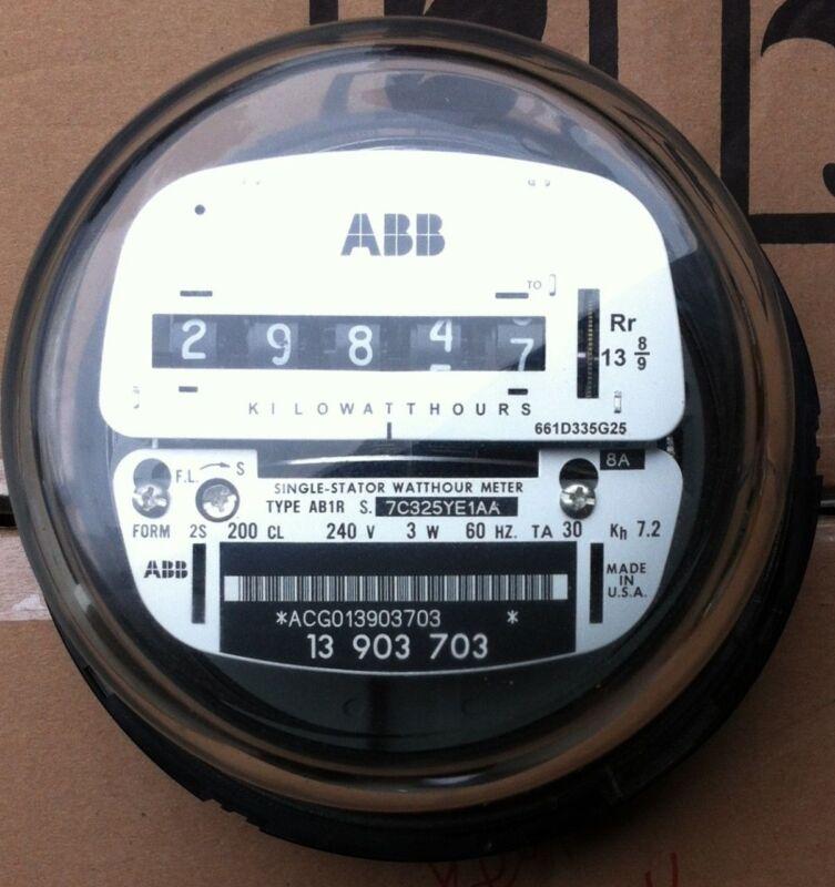 ABB, WATTHOUR METER KWH AB1, EZ READ, CYCLONE, 4 LUGS, 240V, 200A, FM 2S, 3W
