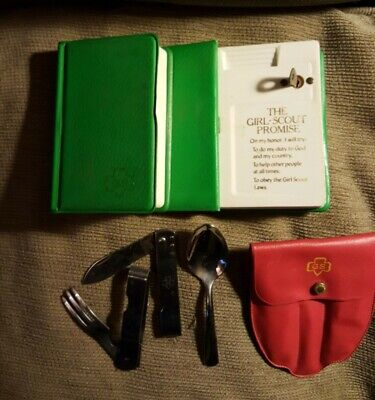 VINTAG GIRL SCOUT LOT UTENSIL SET FOLDING KNIFE/FORK W/CASE-2 BOOK SAFES 1 W/KEY