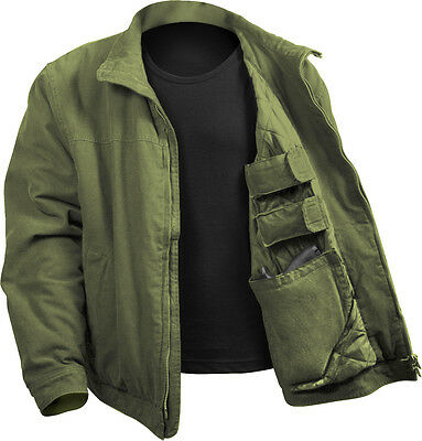 Olive Drab Concealed Carry Padded Military Jacket